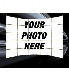 Upload a picture and appears as a collage of 20 images. Background black with white trails. To save or email