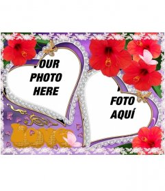 Set of two photo frames, heart-shaped, flowers and butterflies appear. Ideal to represent the love of a partner. Violet background