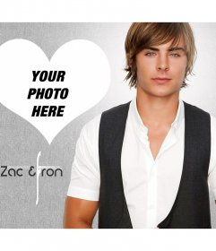 Photomontage in a heart with actor Zac Efron