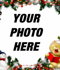 Christmas frame to put your picture with a cat singing