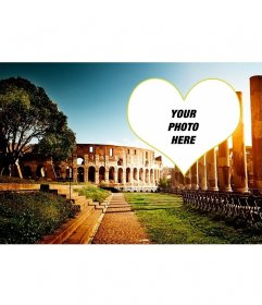 Postcard with a background of the amphitheater in Rome for your photo