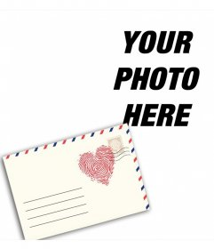 Photomontage with a love letter to edit with your photo online