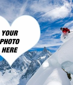 Photo frame of a skier to put your photo in a heart
