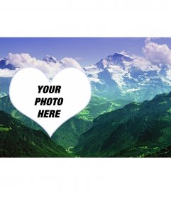 Collage to put your photo in a landscape with mountains