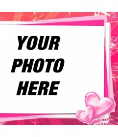 Pink photo frame to edit with your photo a love card with hearts