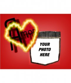 "Post Valentine""s background with a red heart. Personalize it with your photo"