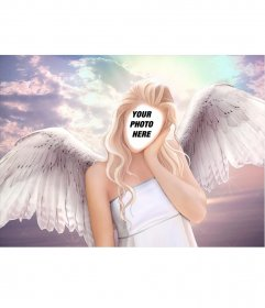 Photomontage of the body of an angel with long blond hair