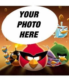 Collage about Angry Birds in Space with the famous birds dressed!