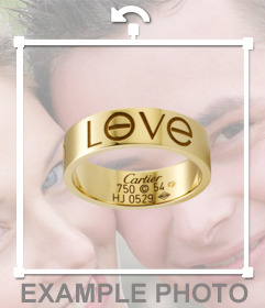Sticker of a ring engraved with the text LOVE to put together with the image you upload