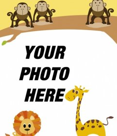 Children frame with animals to personalize with your photo