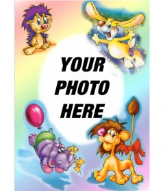 Picture Frame: party animals, lion, hippo, rabbit
