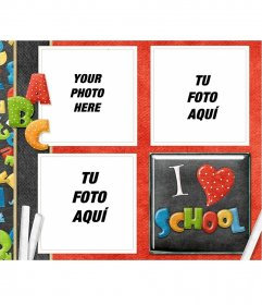Frame for three photos with the theme of school