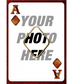 Photo frame with an ace of diamonds