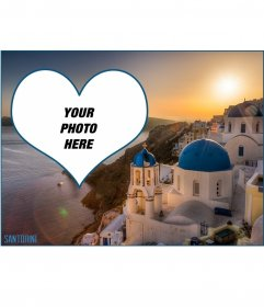 Postcard with a picture of a sunset in Santorini