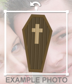 Sticker of a drawing of a coffin with a cross