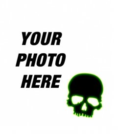 Create an avatar for facebook and twitter with a black skull with green fluorescent edge on a photo you upload