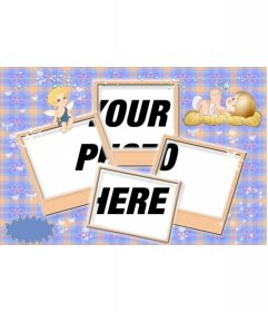 Photo frame for multi-effect baby photo. with an angel and a baby sleeping. For four photos