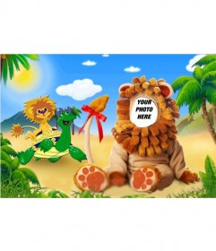 Photomontage of a lion costume for children where you can edit with your photo