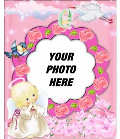 Picture frame pink background with clouds and stars shining on you insert a picture. They appear a little angel with a halo with your hands together in prayer position
