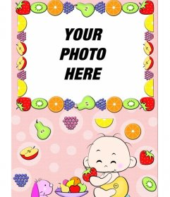Baby picture photo frame, where you see a child eating fruit and frame surrounded by fruit