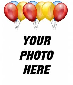 Birthday card. With balloons to put your photo on the background