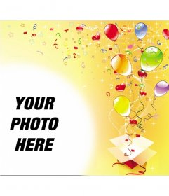 Picture frame on the occasion of birthday party, yellow background with streamers, stars and balloons out of a gift box