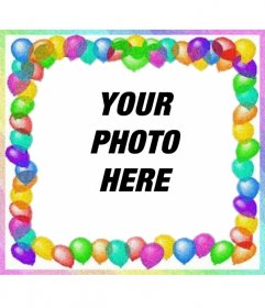 Photo frame made with colorful balloons. For birthday greetings