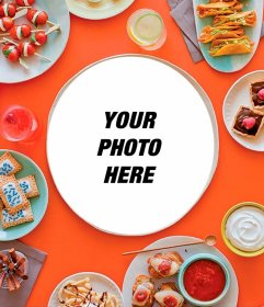 Put your picture on a meal surrounded by more dishes with food