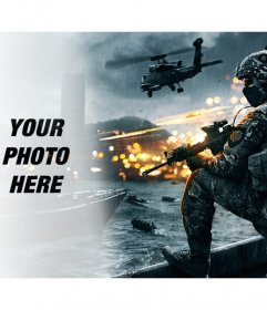 Battlefield video game photomontage with your photo