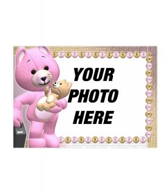Photo frame of an orange teddy bears or the other pink