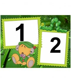 Frame for two photos in the predominantly green leaves which feed a caterpillar and a teddy bear sitting on the floor caricatured