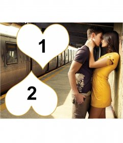 Photomontage for 2 photos with a couple in love