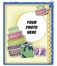 Birthday card with cake and gifts sticker effect put the picture and the words of greeting you prefer