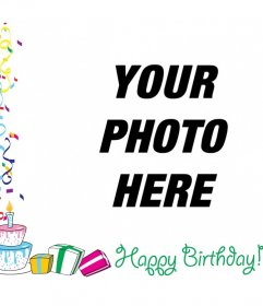 Photo frame with text HAPPY BIRTHDAY with decorations, balloons and birthday gifts