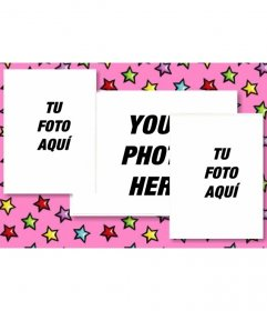 Personalized birthday card with 3 photos. Pink background with colorful stars. Upload the three pictures and send email