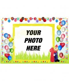 Online birthday card bordered with colorful balloons
