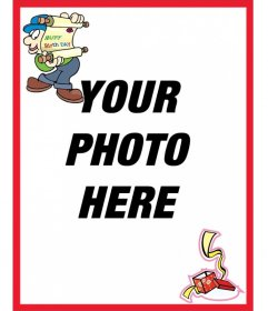 Postcard to do with your birthday photo, red border. Announcement birthday