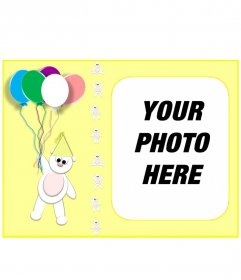 Yellow birthday card personalized with your photo with a teddy bear and balloons