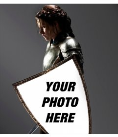 Photomontage with Kristen Stewart in Snow White, embodied in his shield