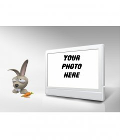 Photo Frame TV and rabbit. Customize with your photo!