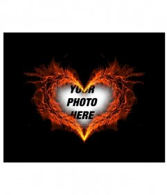 Photo frame heart shaped burning where you can put your background photo
