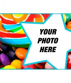 Customize your Facebook profile cover with candy and lollipops and your photo inside a star