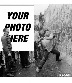 Photomontage of the fall of the Berlin Wall in 1989 to put your picture next to the picture