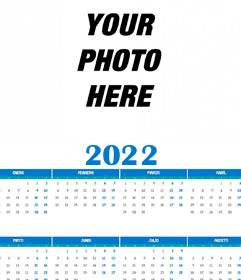 Calendar 2020 full year 12 months with your photo