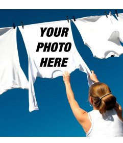 Photo montage to put your image on a hanged up white T-shirt