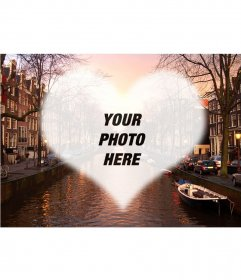 Postcard in an Amsterdam canal