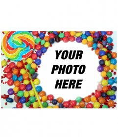 For photos with decorative edge of candy and lollipop. Frame a picture and save or send an email to the result