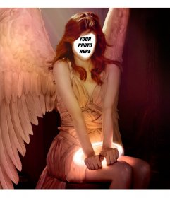 Put your face in a red-haired woman with angel wings with this effect