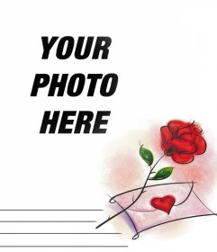 Photo effect with a red rose and a love letter you can edit