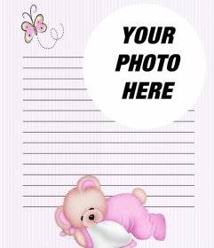 Online letter to customize with a photo with a children design